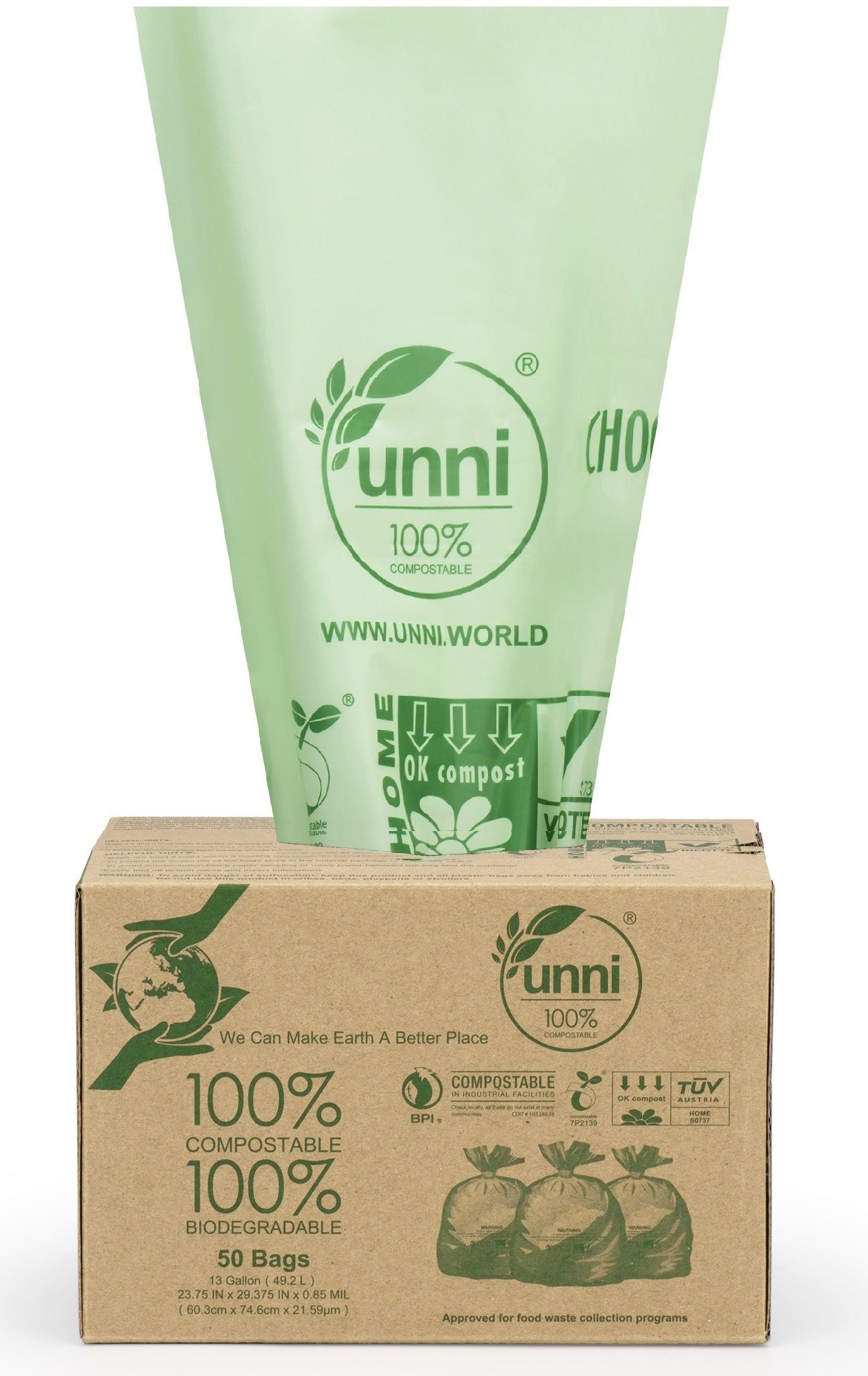 UNNI ASTM D6400 100% Compostable Bags, 13 Gallon, 100 Count, Heavy Duty 0.85 Mils, Tall Kitchen Trash Bags,Food Scrap Yard Waste Bags,US BPI & European VINCOTTE OK Compost Home Certified|San Francisco