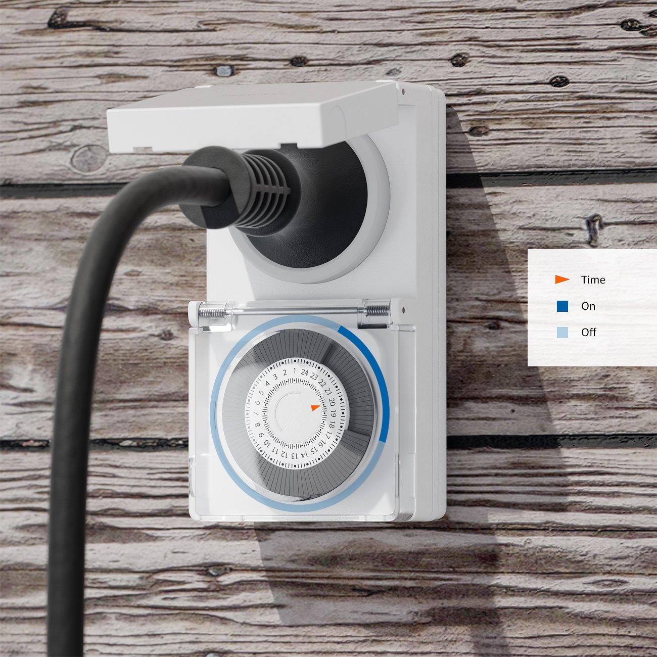 deleyCON M/écanique Outdoor Minuteur Interrupteur Horaire Timer R/églable Manuellement Via Le Plateau Tournant pour Inside//Exterior 3500W Blanc