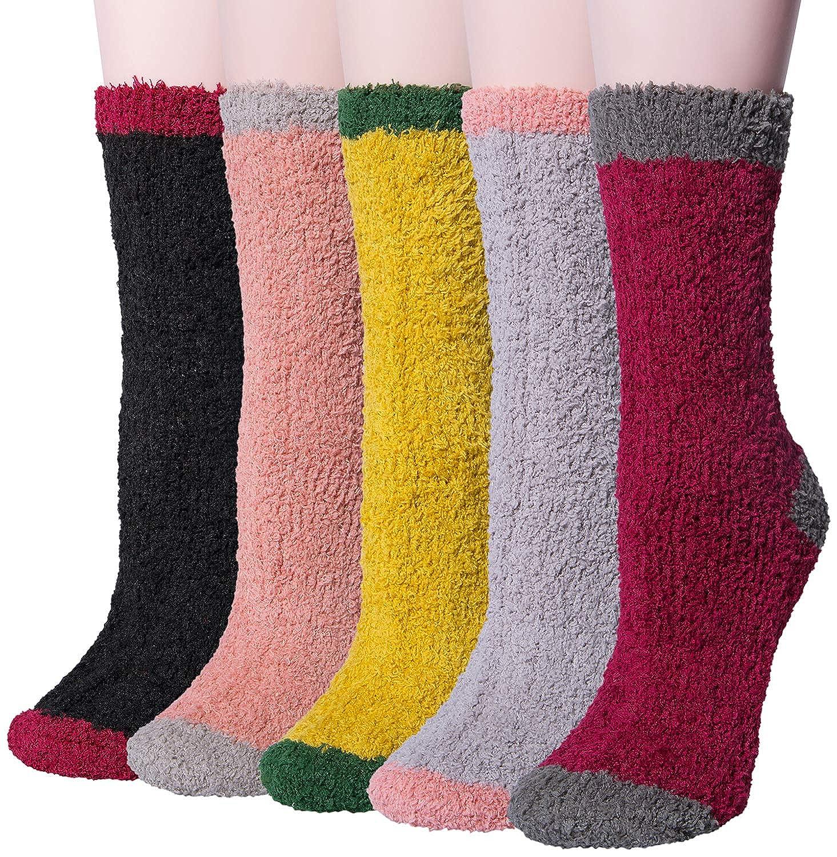 6fab7a50d11 Loritta 5 Pairs Women Warm Fuzzy Fluffy Socks Super Soft Cozy Home Slipper  Socks CLT-