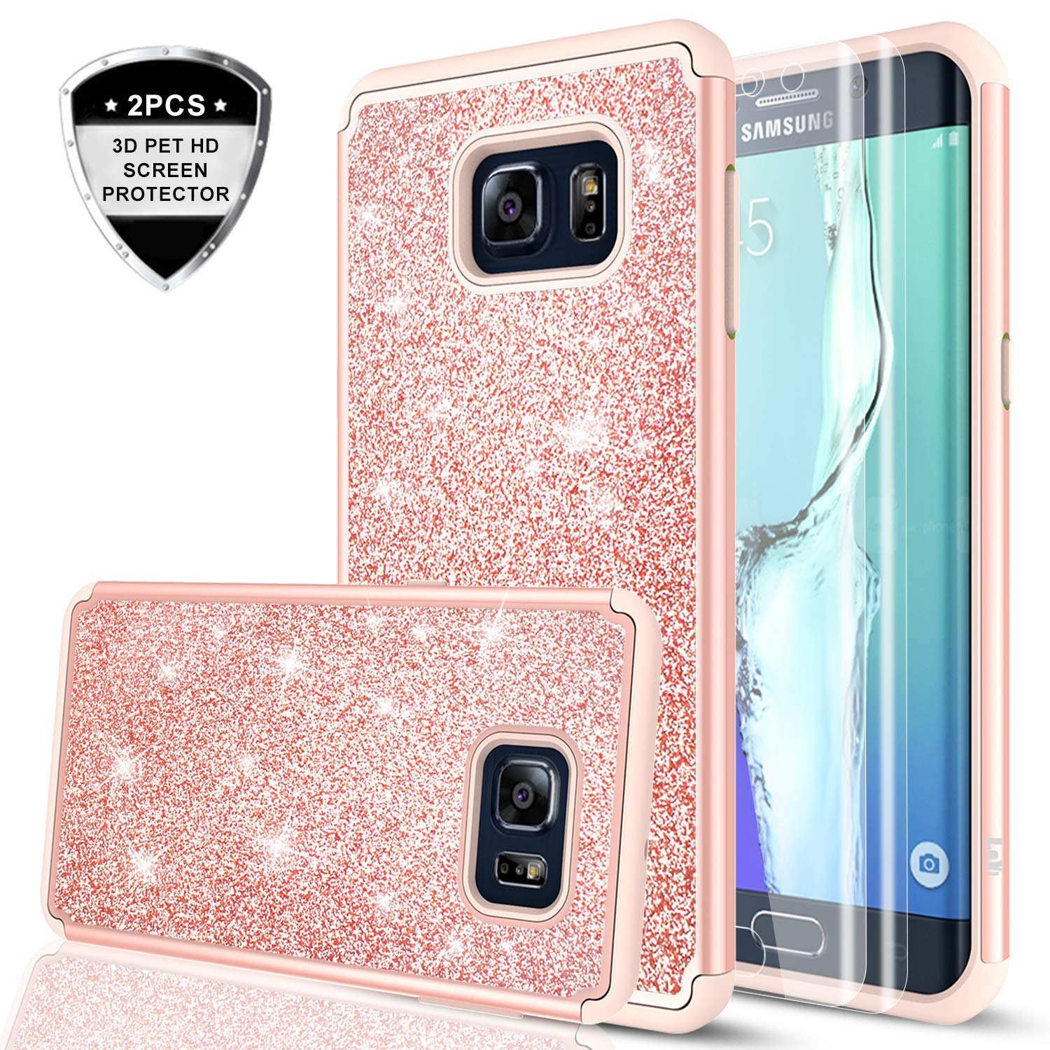Samsung Galaxy S6 Edge Plus Case Glitter Top Deals Lowest Price Protection With 3d Pte Screen Protector 2 Pack