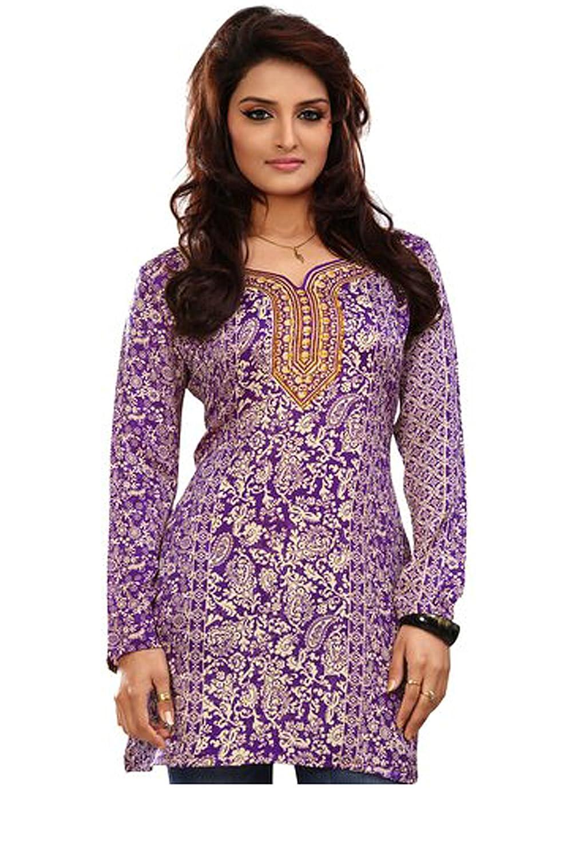 MapleClothing Indian Túnicas Kurti Top Blusa Para Mujer de la India ...
