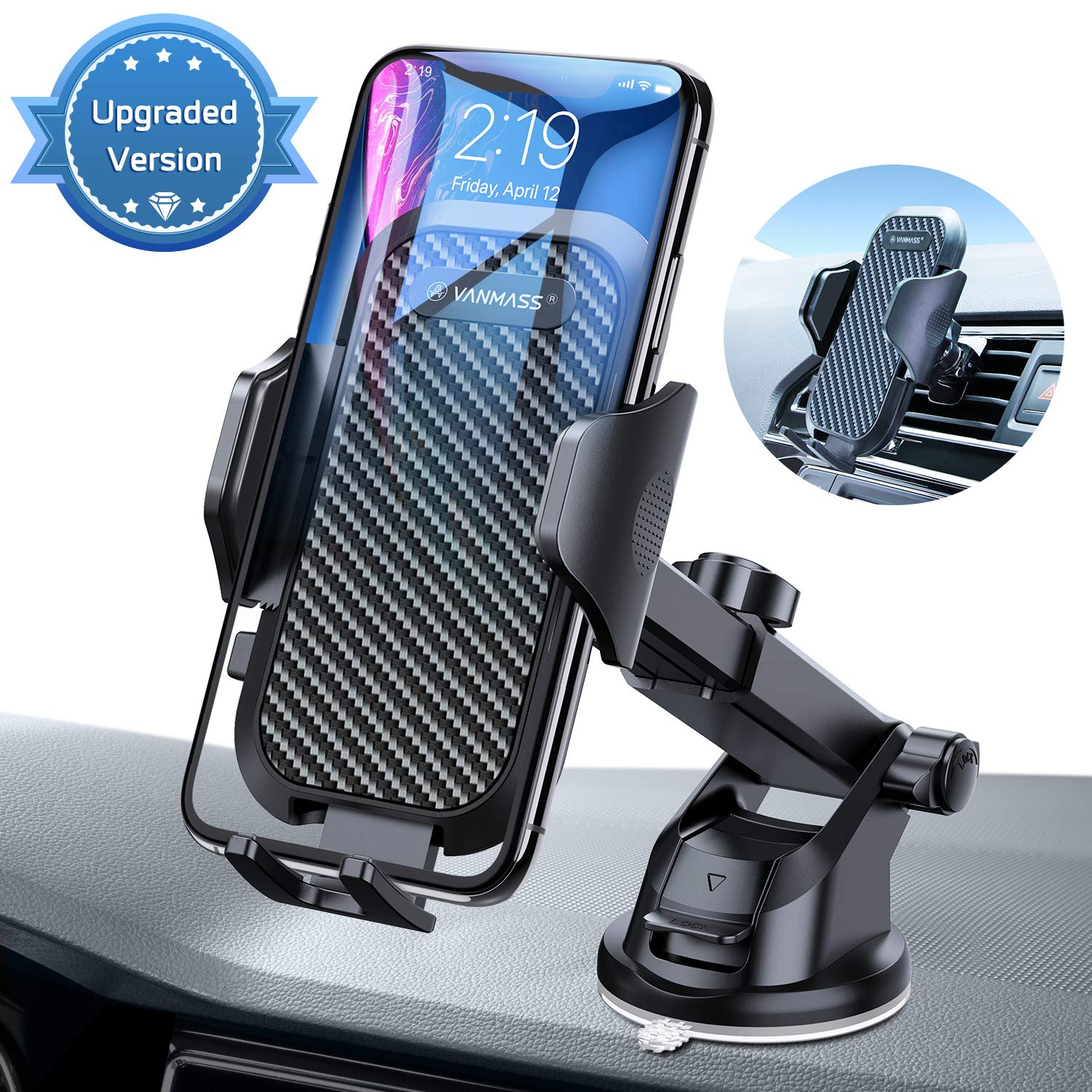 VANMASS Upgraded Car Phone Mount, Dashboard Air Vent Cell Phone Holder for Car with Telescopic Arm & Dashboard Pad, Strong Sticky Suction, One Button Release Car Cradle, Compatible iPhone Samsung by VANMASS