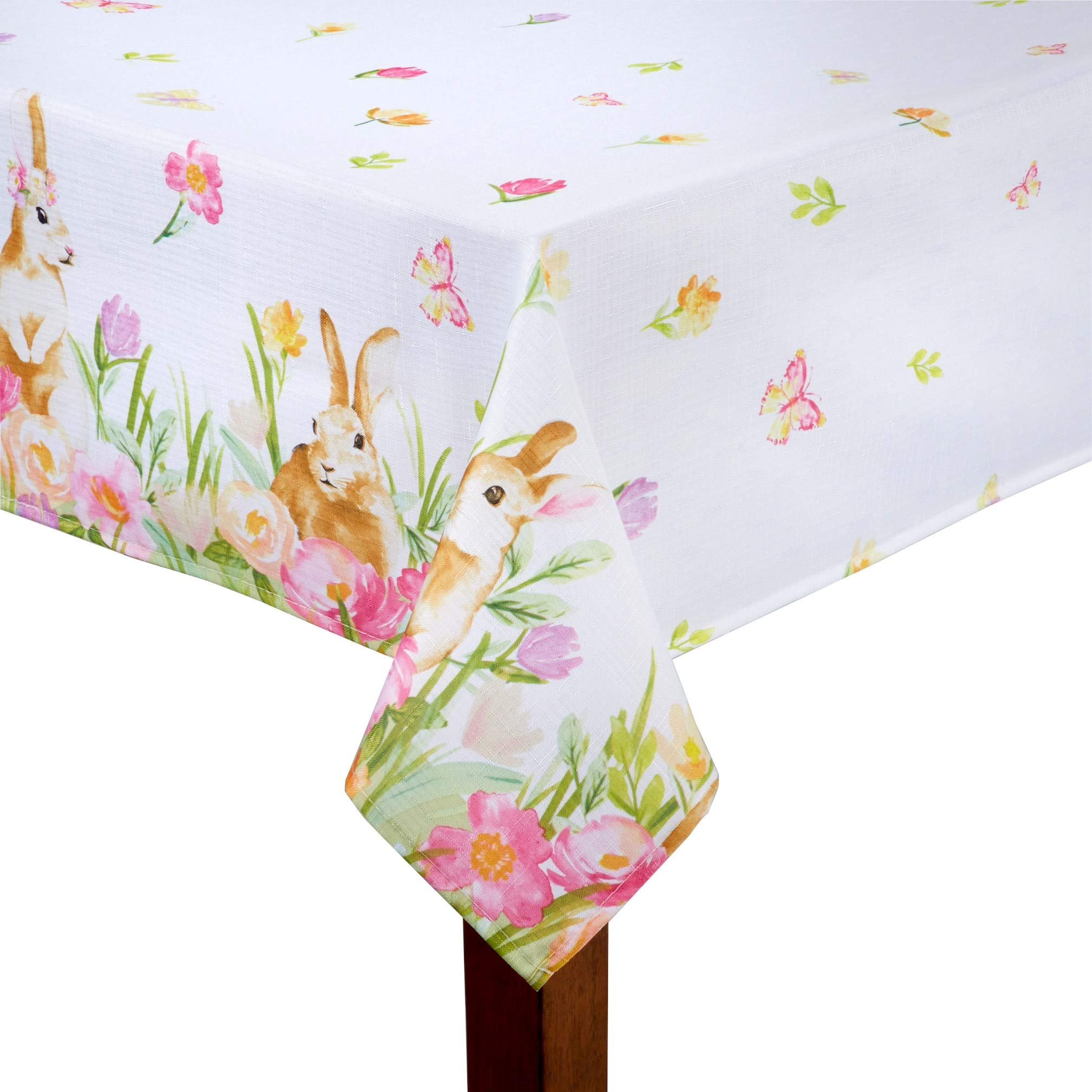 Bunnies at Play Easter Pastel Print White Background Floral Polyester Fabric Tablecloth (60'' x 102'' Rectangle/Oblong)