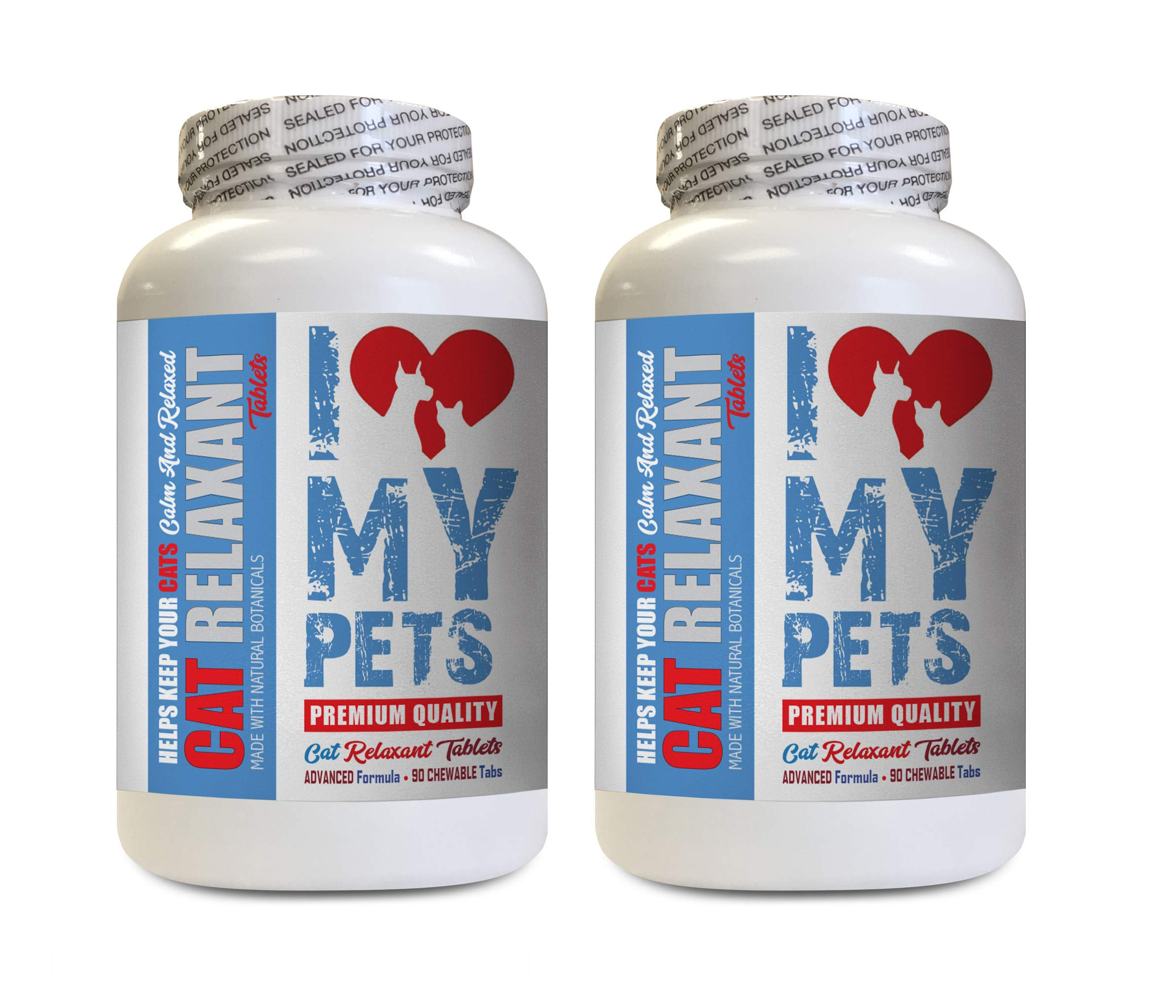 I LOVE MY PETS LLC cat Relaxing Pills - CAT Relaxant - Anxiety Relief & Calmer - Premium Quality Treats - cat Stress Relief - 180 Treats (2 Bottles) by I LOVE MY PETS LLC