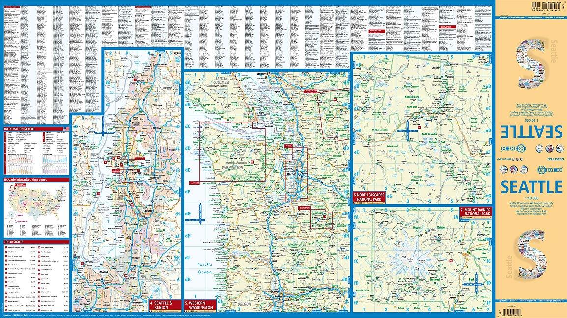 Laminated Seattle City Map by Borch Maps English Spanish French