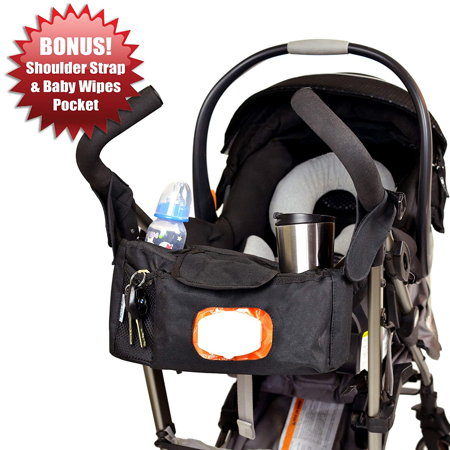 Angel Baby Stroller Organizer Diaper Bag w/SHOULDER STRAP & WIPES POCKET - Universal with Double Insulated Cup Holders and Back Zipper Pocket for Stroller Accessories (25.5in x 4in.) Angel Direct Products AB-STORG