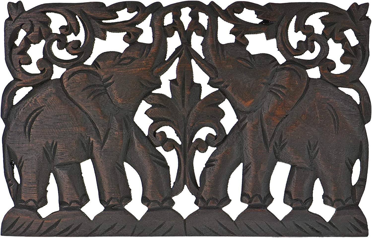 Jubilant Thai Elephant Duo Hand Carved Teak Wood Wall Art Relief Panel - Fair Trade Handicraft by Thai Artisans