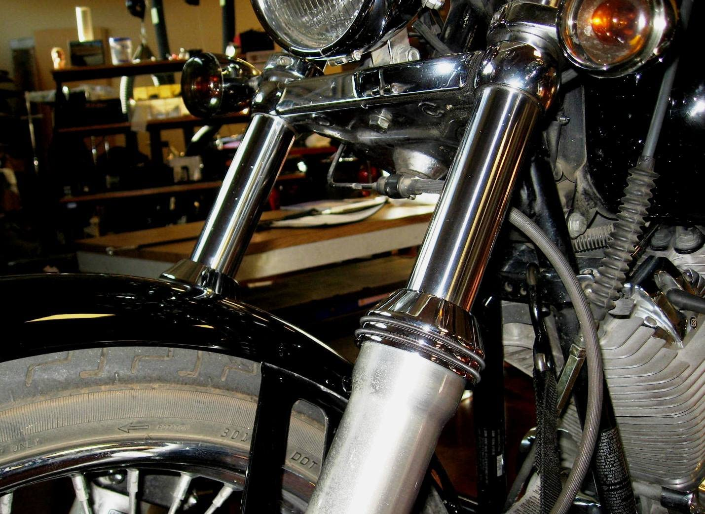 Chopper. Mr Luckys EZ-On Fork Boot Covers Bobber fit 41mm Harley FXWG//ST front ends Chrome Custom