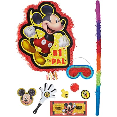 Party City Pull String Mickey Mouse Forever Pinata Supplies with Favors, Disney Pinata, Pinata Stick, and Blindfold: Kitchen & Dining
