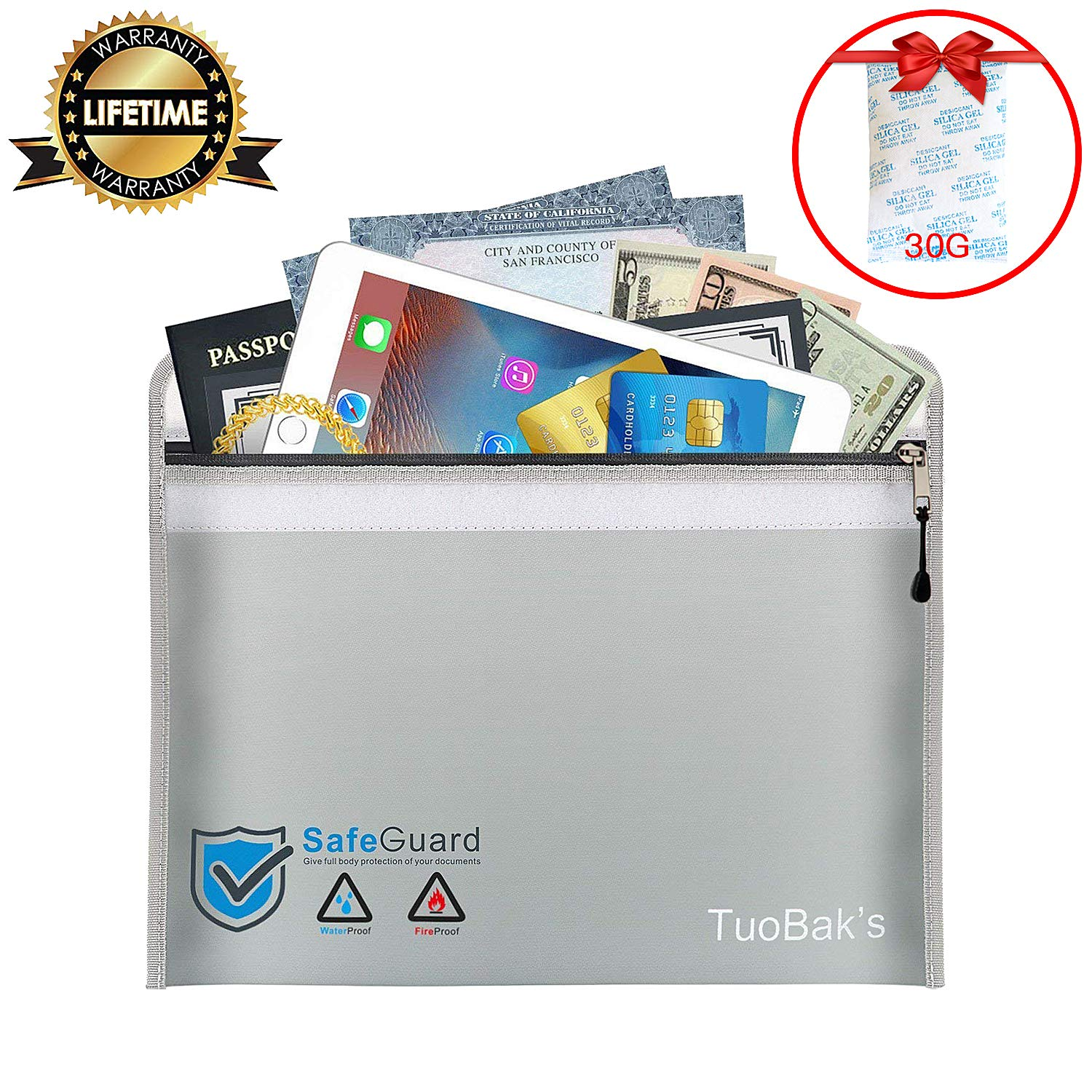 Fireproof Document Bag | fireproof safe Storage Non-Itchy Upgraded Silicone Coated Water Resistant Money Bag with Premium Silica Gel Desiccant 30 Gram for Cash Jewellery Passport (15.8' x 11.1') 11812-226735