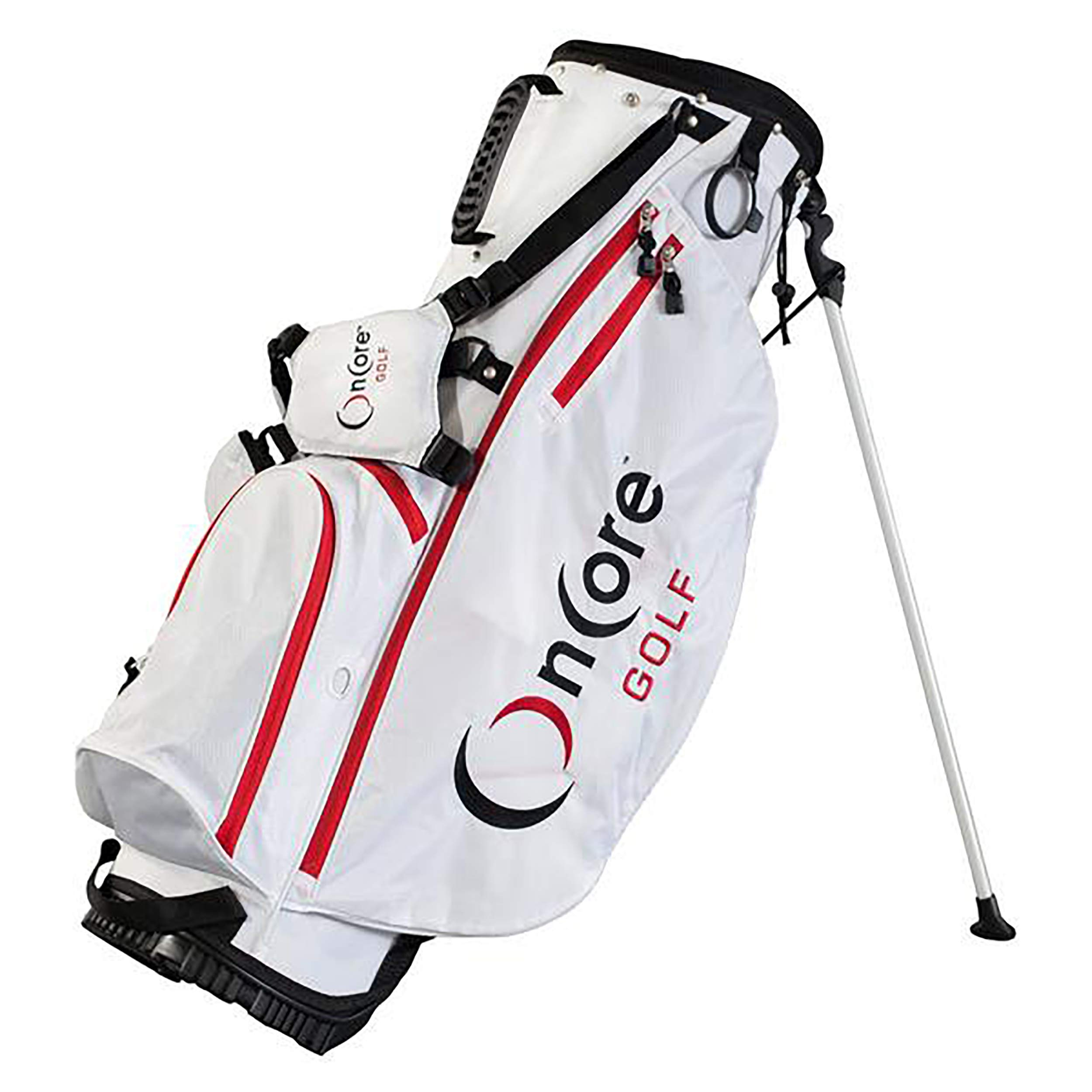 ONCORE GOLF Bags | Stand Golf Bag | Padded Carrying Strap | Full-Length Club Dividers | Lightweight & Durable Design | Umbrella Holder & Removable Rain Hood | White Golf Bag