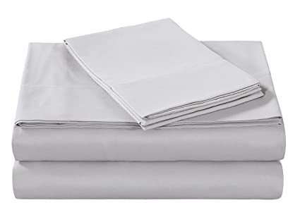 5898a81e1 Style Homes 4-Piece Luxury Bed Sheet Set - Ultra Soft Microfiber, Solid  Color, Wrinkle & Shrink Resistant, Hypoallergenic - Queen, Silver Gray