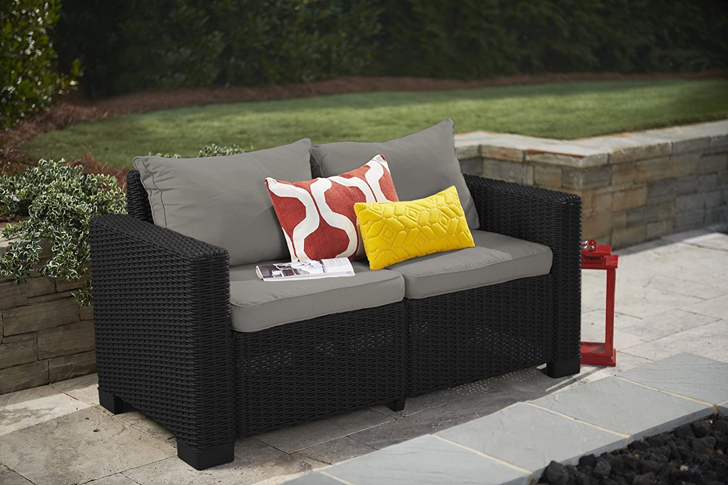 Amazon.com : Keter California All Weather Outdoor 2 Seater Patio Sofa  Loveseat With Cushions In A Resin Plastic Wicker Pattern, Graphite/Cool  Grey : Garden ...