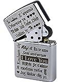 """Zippo con incisione """"I Love You"""" in più lingue su accendino a benzina cromato spazzolato"""