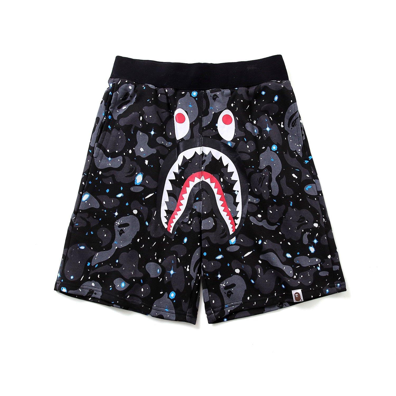 Athletic Pants Shark Pattern Camouflage Stitching Shorts Men Drawstring Sports Shorts