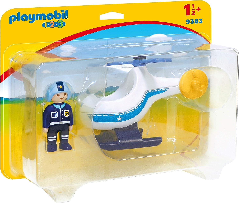 PLAYMOBIL- 1.2.3 Helicóptero de Policía Juguete, Multicolor (geobra Brandstätter 9383)