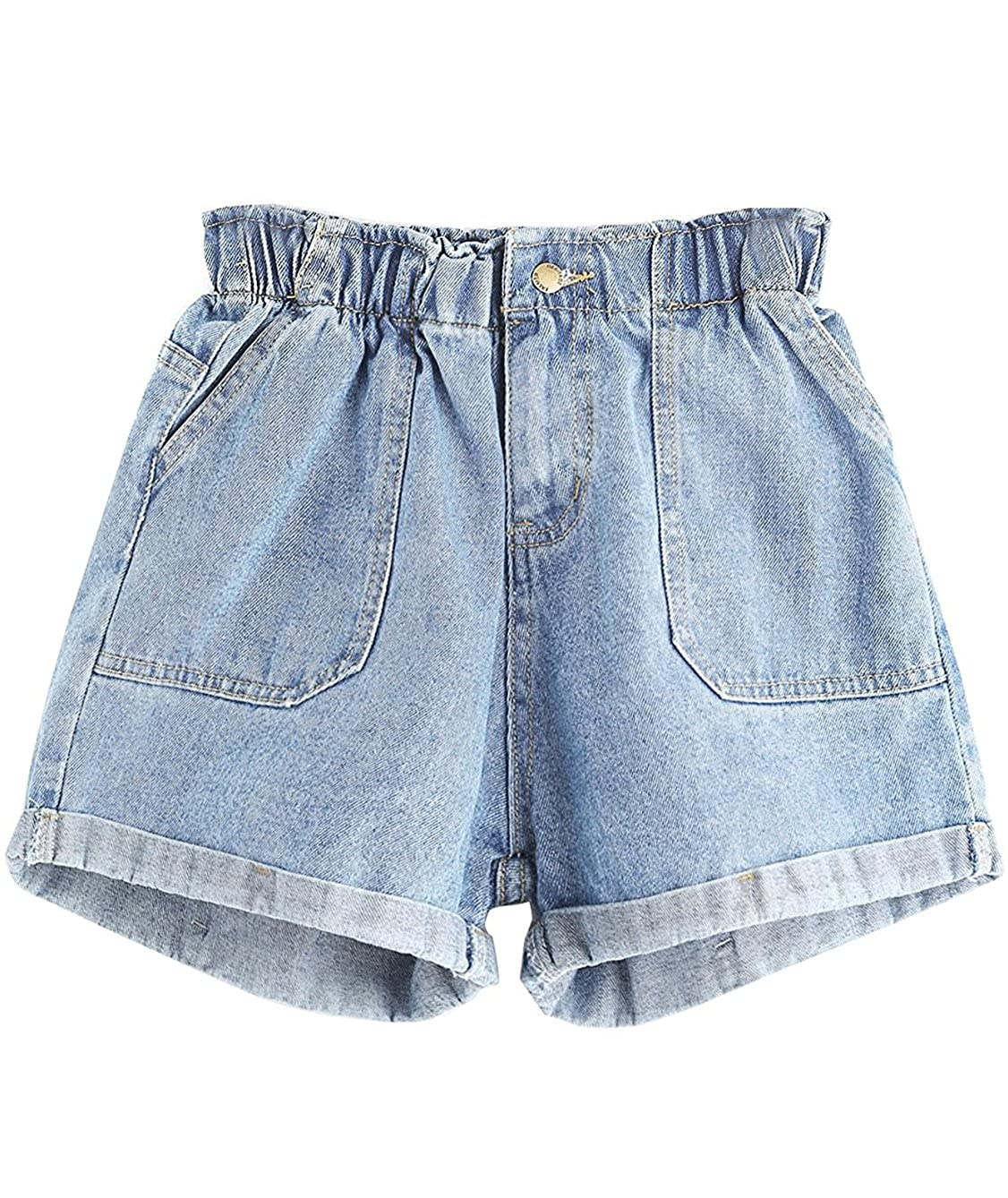 Floerns Womens' Elastic Waist Summer Denim Shorts Jeans
