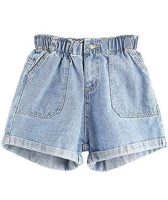 2b02ff9c9dcc Floerns Womens  Elastic Waist Summer Denim Shorts Jeans at Amazon ...