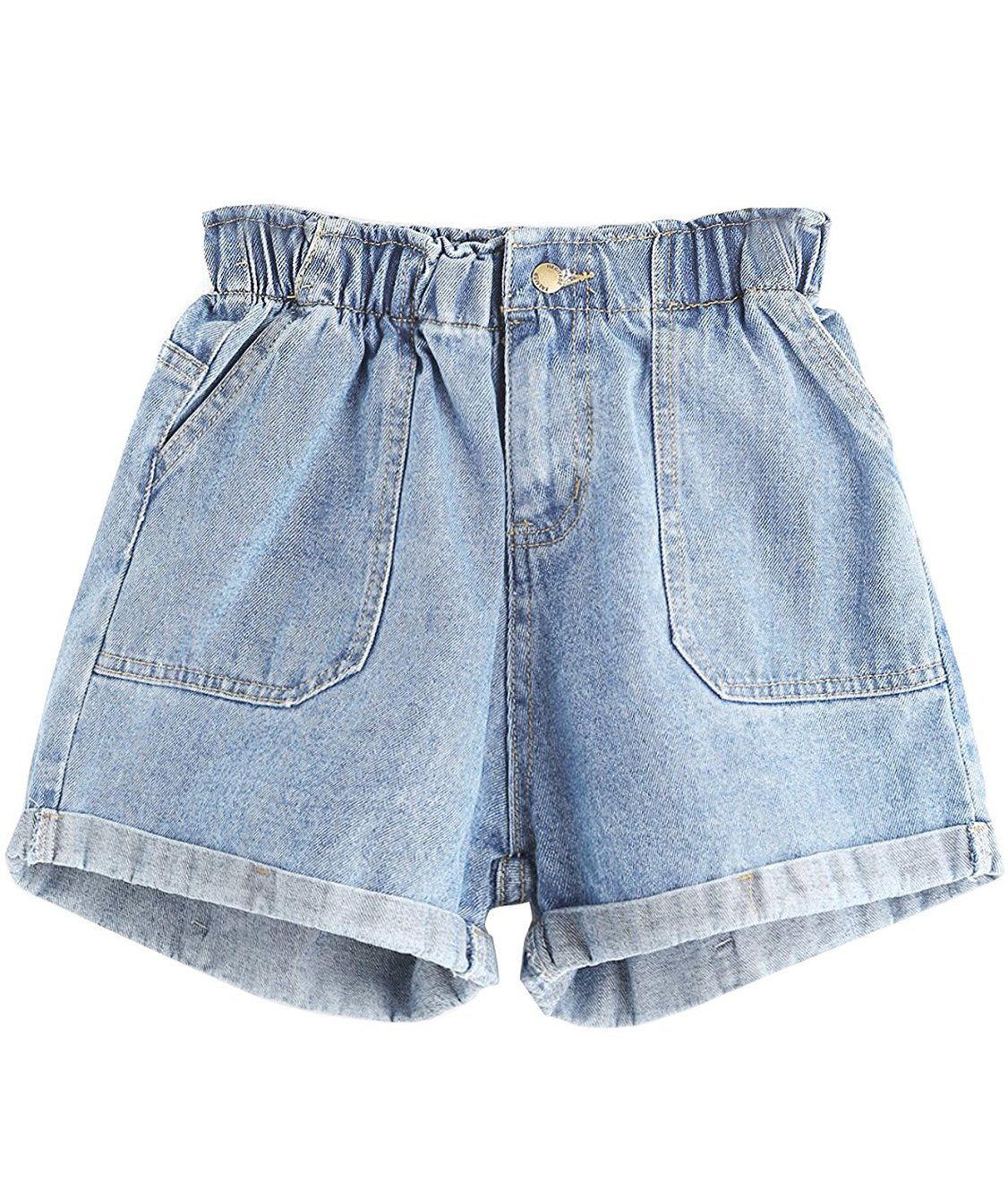 Floerns Womens' Elastic Waist Summer Denim Shorts Jeans Blue XL