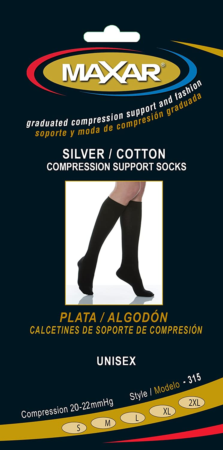 Amazon.com: Maxar silver fiber cotton compression support socks, unisex, x-large, black: Health & Personal Care