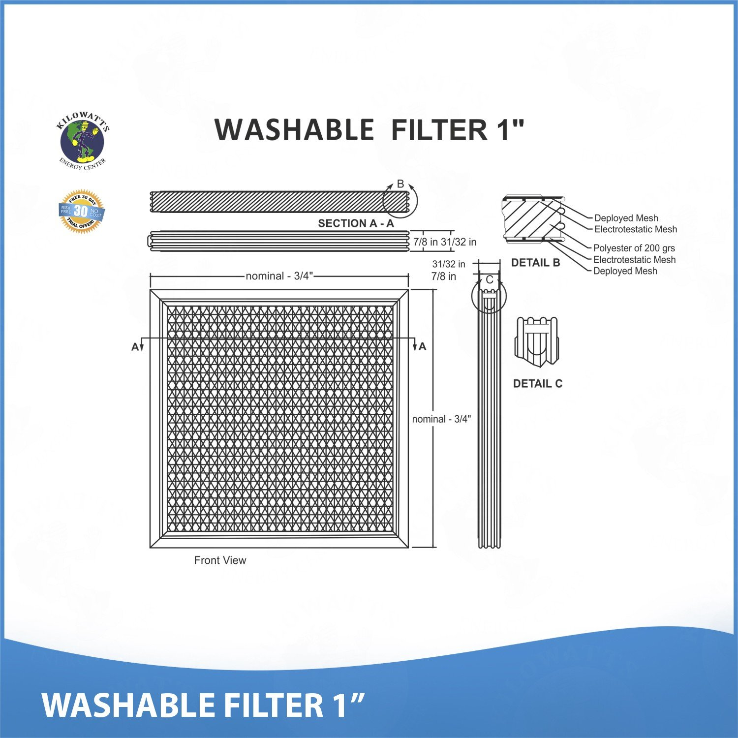 24x30x1 Washable Permanent A/C Furnace Air Filter by Kilowatts Energy Center (Image #3)