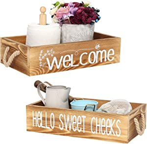 Rustic Bathroom Decor Box with Double Sided Signs. Paper Storage Wooden Box for Farmhouse Bathroom Decor, Toilet Decor Box with Funny Sayings. Rustic Welcome Box. Brown