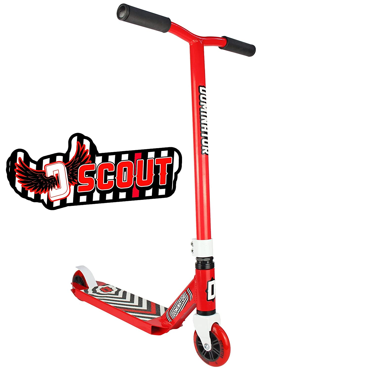 Dominator Scout Pro Scooter - Stunt Scooter - Trick Scooter (Red/Red) Dominator Scooters