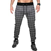BLIVE Men's Checkered Jogger Charcoal White