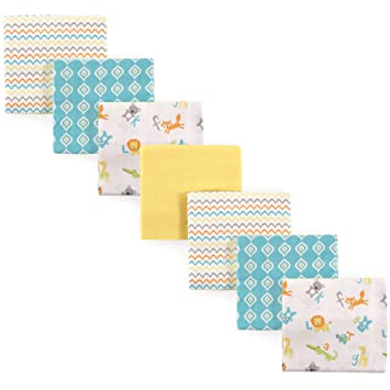 Luvable Friends Unisex Baby Flannel Receiving Blankets 7-Pack Basic Elephant,