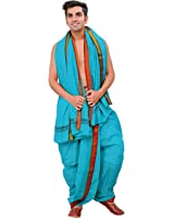 Exotic India Ready to Wear Dhoti and Angavastram Set with Woven Temple Border
