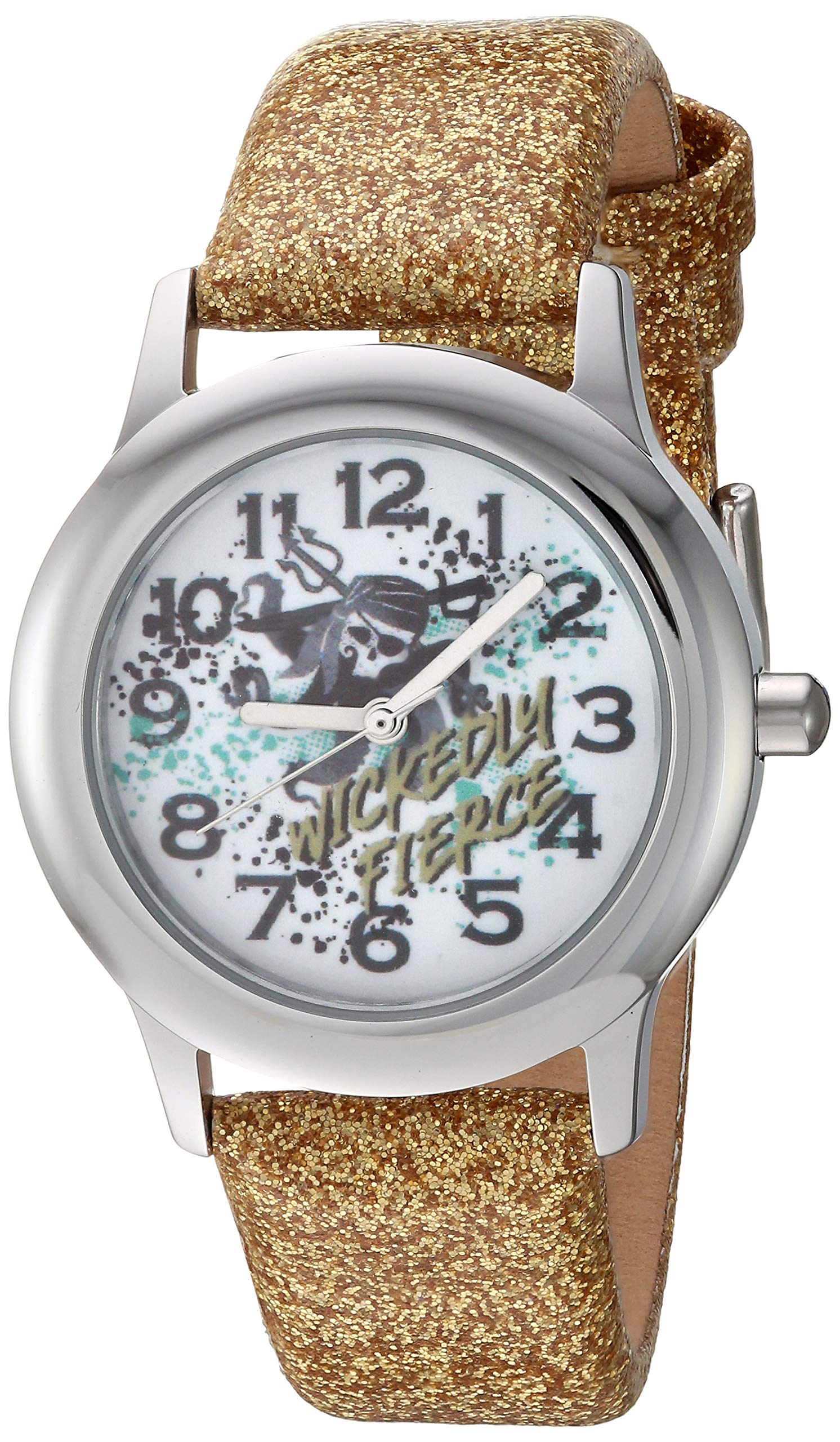 Disney Girls' Descendants 3 Stainless Steel Analog Quartz Watch with Patent Leather Strap, Yellow, 16 (Model: WDS000770) by Disney