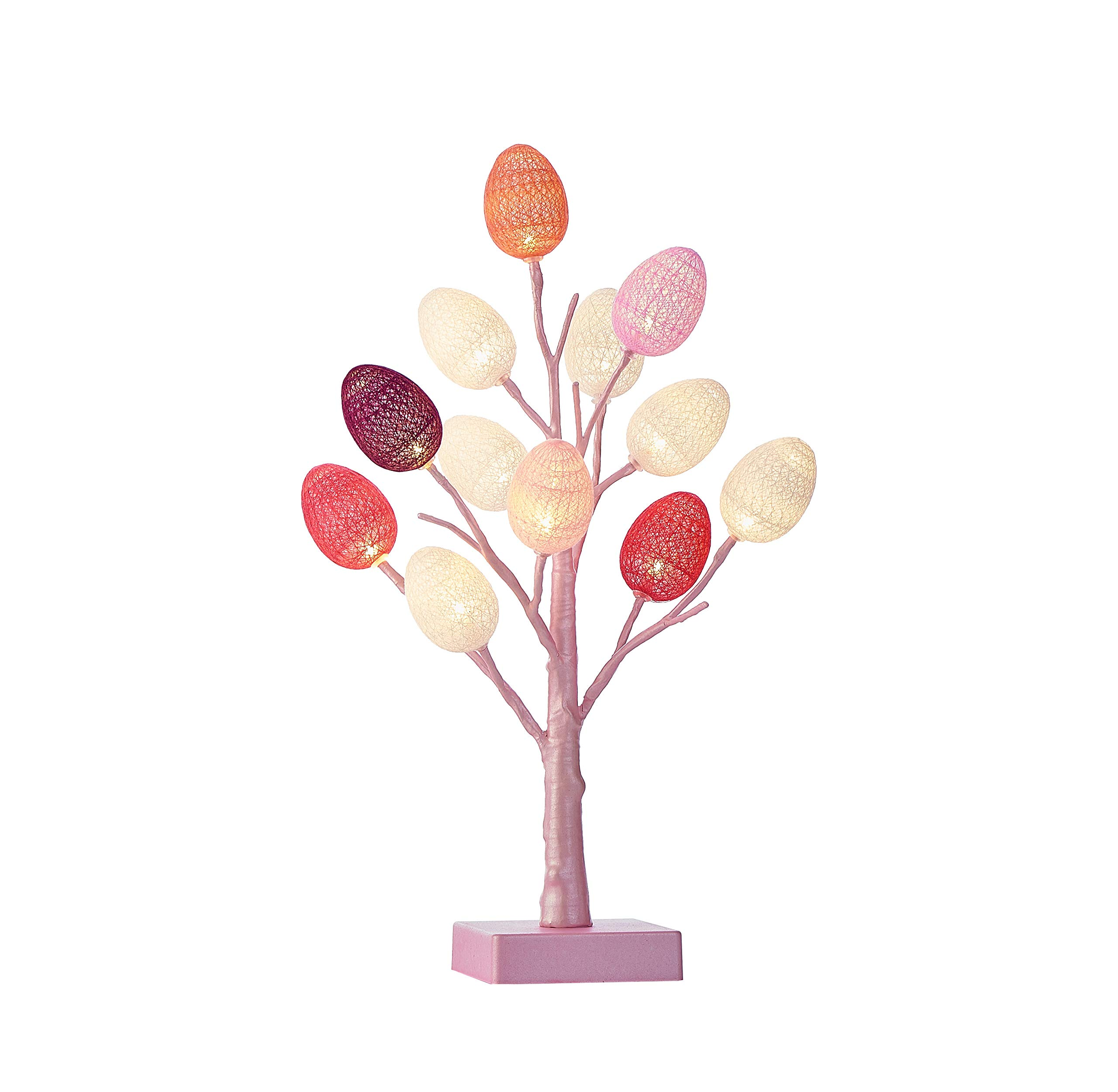 Hairui Pre Lit Easter Egg Tree 12LED 18IN Pastel Pink Tree with Multicolor Eggs, Cute Lighted Egg Tree for Childrens Room Office Decoration Battery Operated