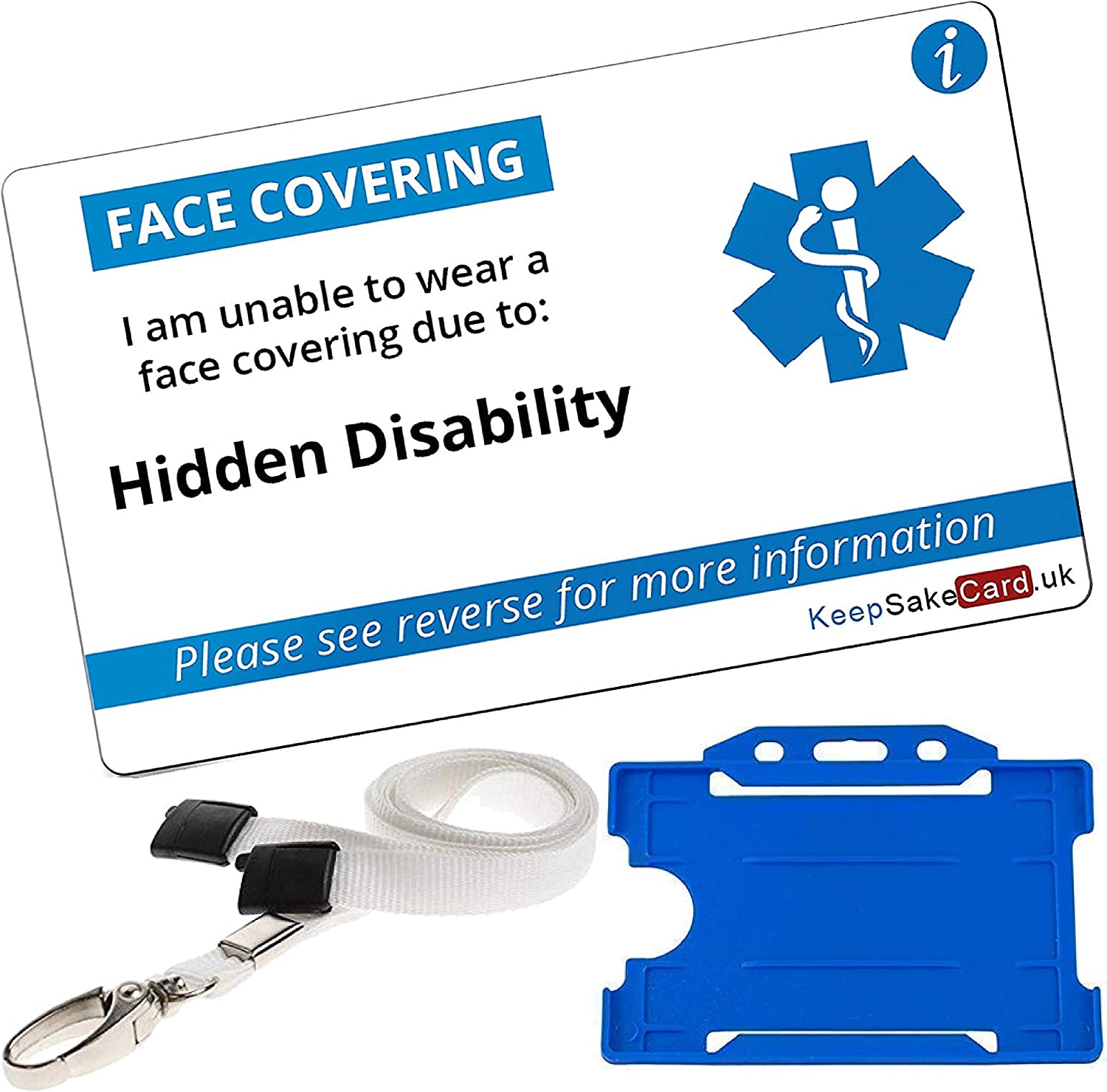Blue #PleaseBeSupportive With Free Lanyard Face Mask Covering Exempt Card UK