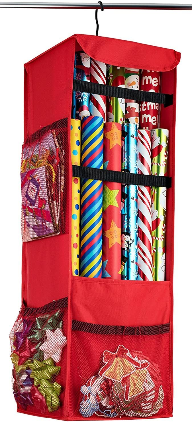 Amazon Com Aotuno Premium 600d Oxford Hanging Gift Wrap Storage Fits 25 30 Rolls Spinning Closet Wrapping Paper Organizer 360 Degree Hook With All Sides Mesh Pockets Strap Loops For Wrapping Accessories