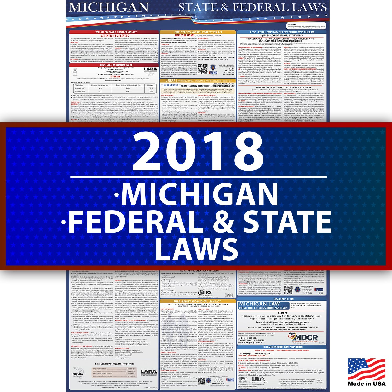 2018 Michigan State and Federal Labor Law Compliance Poster - OSHA Compliant 36'' x 24'' - UV Coated