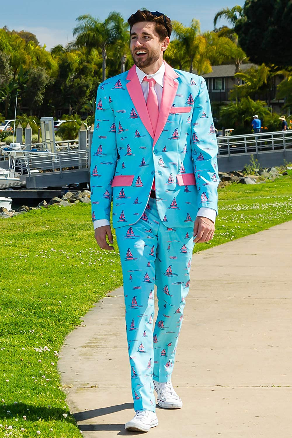 Jacket and Pants Sold Separately Mens Summer Sunset Sail Suit Tropical Blue Sailboat