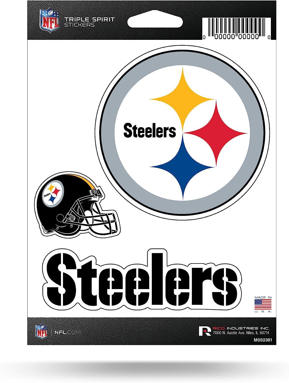 Rico NFL Triple Spirit Stickersnfl Triple Spirit Stickers, Maroon, White, Black, 3 Team Stickers