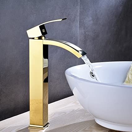 Wovier Gold Polished Finish Waterfall Bathroom Sink Faucet With ...