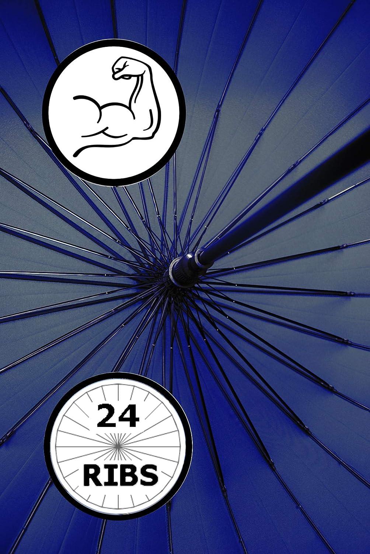 Cadre Triple Couche Poign/ée en Bois Parapluie Canne -/Bleu 24 Baleines TR/ÈS Robuste 95KPH Renforc/é avec Fibre de Verre COLLAR AND CUFFS LONDON Ouverture Automatique