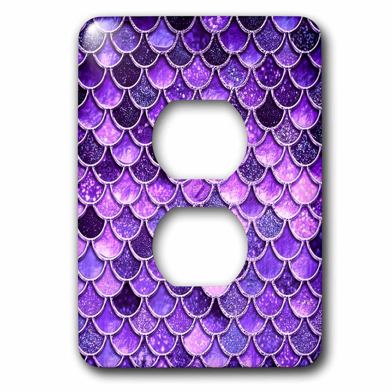 3dRose LSP_275449_6 Image of Sparkling Ultra Violet Shiny Luxury Mermaid Scales Glitter Plug Outlet Cover,