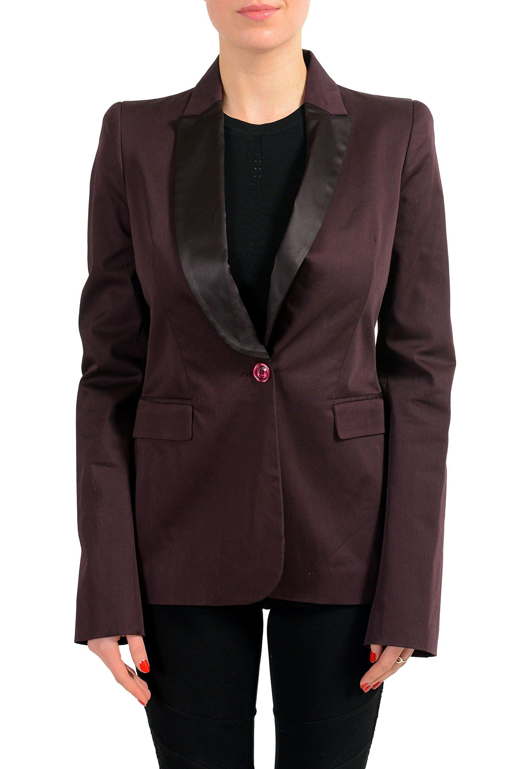 Just Cavalli Brown One Button Tuxedo Style Women's Blazer US S IT 40