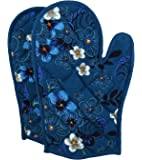 Shalinindia Cotton Oven Mitts Printed Set of 2 Quilted Cooking Gloves,OG02-1416,Blue,8 x12 Inch