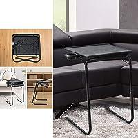 Foldable Table Adjustable Tray Portable Folding Laptop Desk Removable Cup Holder (Black)