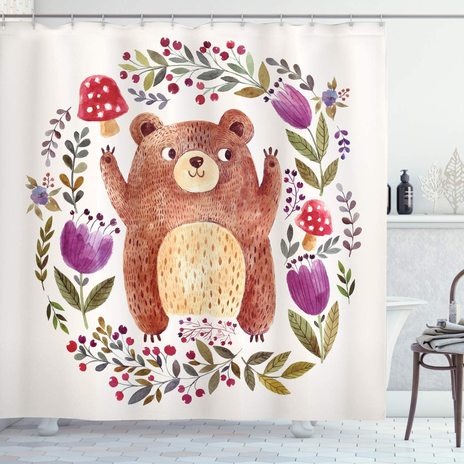 Ambesonne Watercolor Flower Shower Curtain, Illustration of Happy Little Bear in Frame of Flowers Mushrooms Wreath, Cloth Fabric Bathroom Decor Set with Hooks, 75