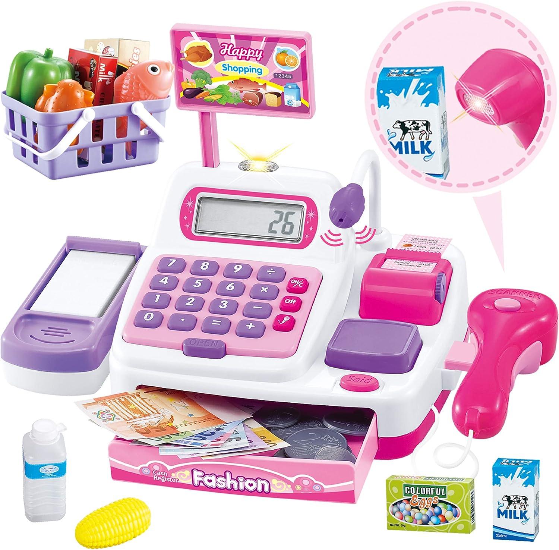 Buyger 34 Piezas Caja Maquina Registradora Juguete Electrónica Supermercado para Niña con Escáner Calculadora y Micrófono (Rosa)