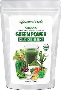 Organic Delicious Greens Superfood Powder - Barley Grass, Wheatgrass, Spirulina, Spinach, Broccoli, Coconut Milk, Ginger, Alfalfa Leaf, Beet Root, Tomato, Dulce & Moringa - Raw Vegan Gluten Free - 1lb