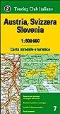 Austria, Svizzera, Slovenia 1:800.000. Carta stradale e turistica. Ediz. multilingue