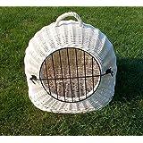 Katzenkorb aus Weide Weiß gebleicht | Größe M L XL | abnehmbares Metall-Gitter Transportkorb / Transportbox für Katzen Hunde | Katzenhöle Hundebett …