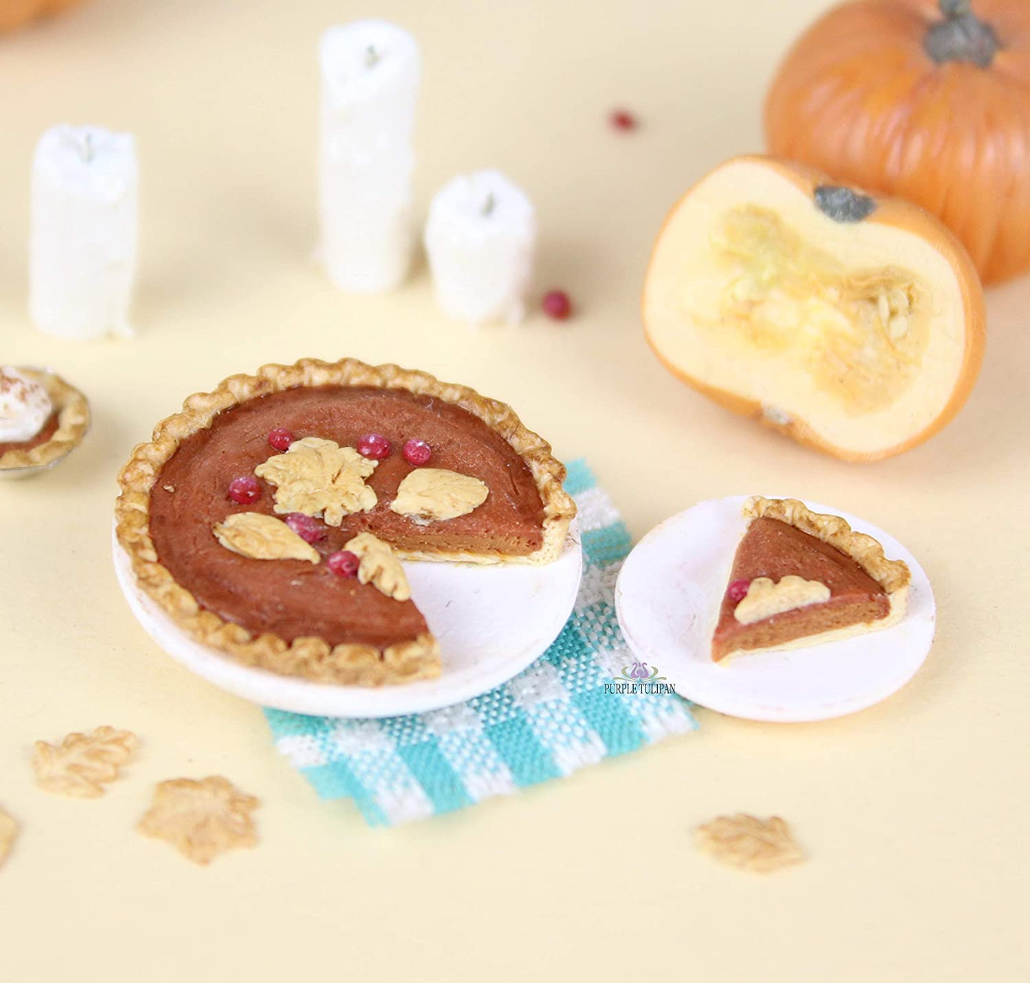 Dollhouse Miniature size  2 Slices of Pumpkin Pie on a Plate With Whipped Cream