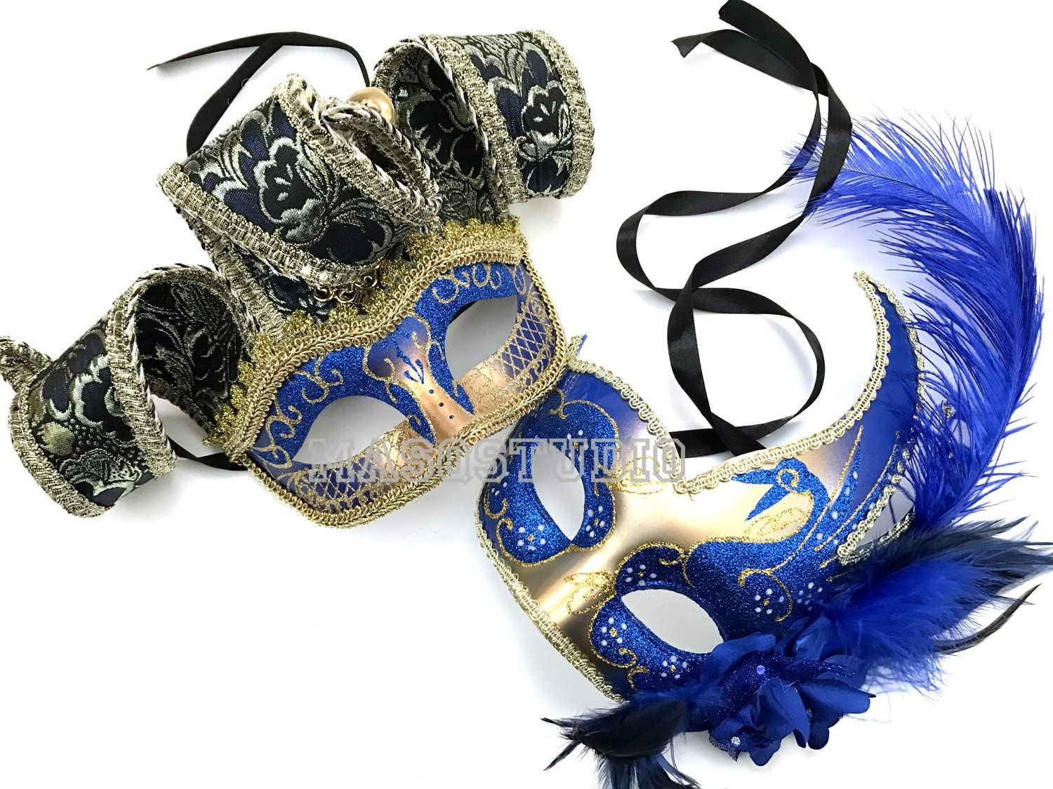 Venetian Masquerade Ball Jolly Jester Ostrich Feather Couple Mask Wedding Party